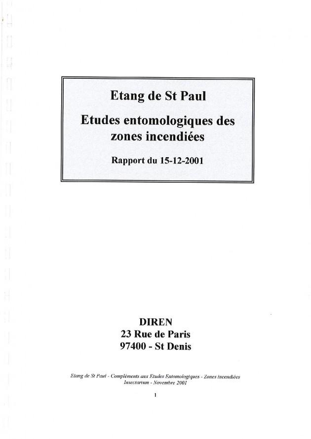 Études entomologiques des zones incendiées - Rapport du 15-12-2001
