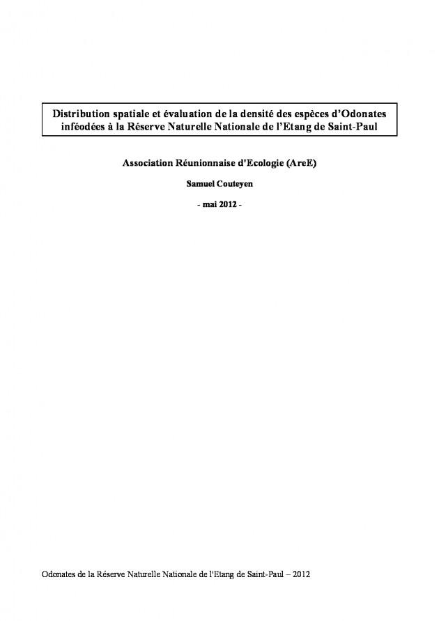 Distribution spatiale et évaluation de la densité des espèces d'Odonates inféodées à la Réserve Naturelle Nationale de l'Etang de Saint-Paul