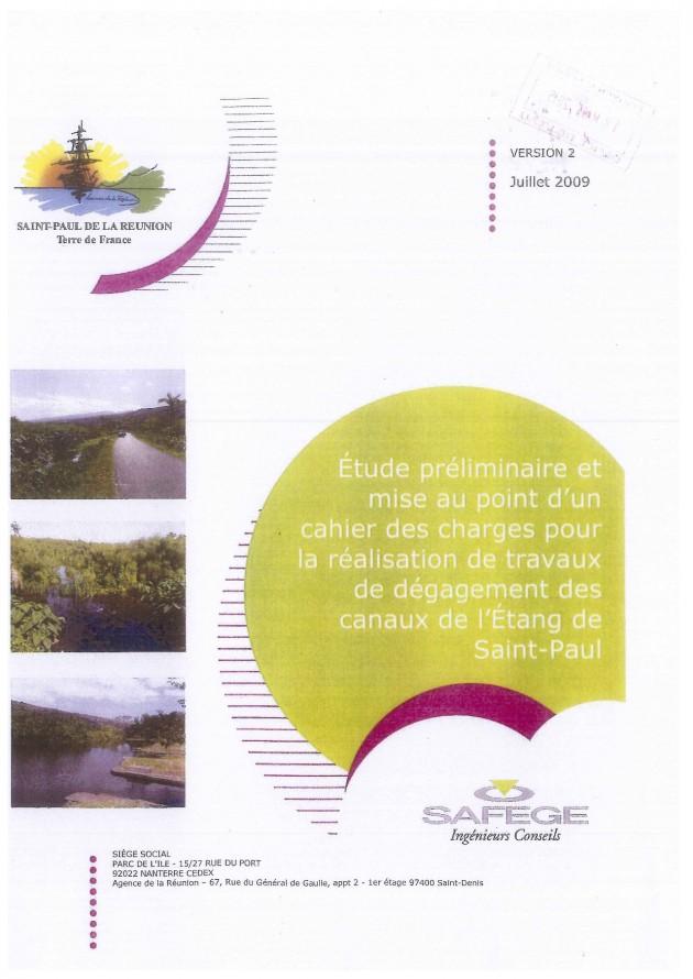 Étude préliminaire et mise au point d'un cahier des charges pour la réalisation de travaux de dégagement des canaux de l'Étang Saint-Paul