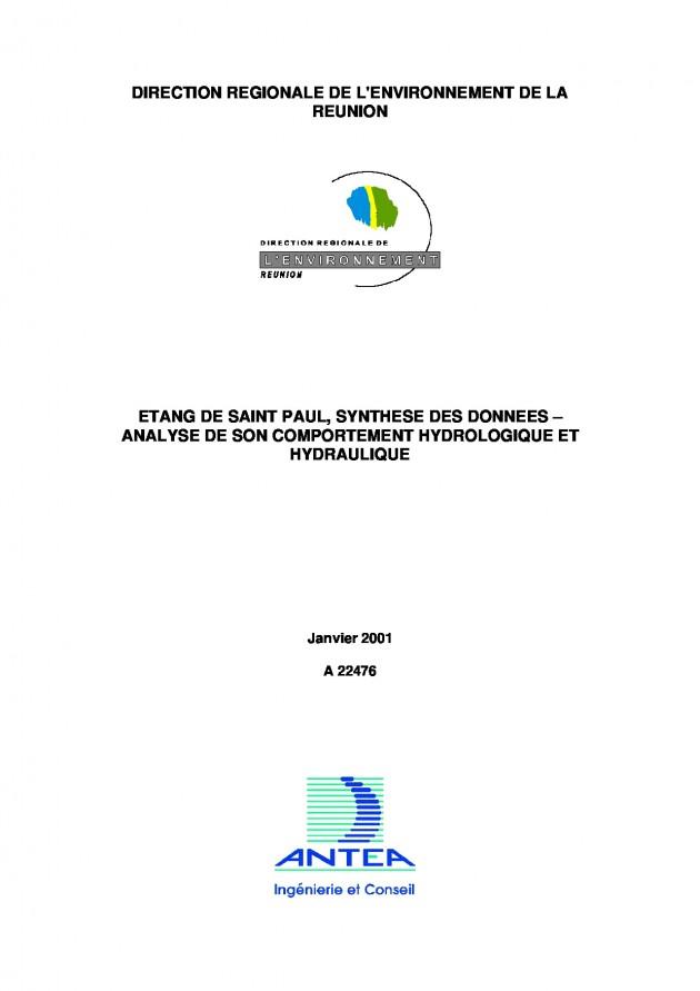 Synthèse des données – Analyse de son comportement hydrologique et hydraulique