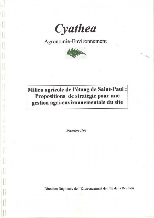 Milieu agricole de l'étang de Saint-Paul : Propositions de stratégie pour une gestion agri-environnementale du site