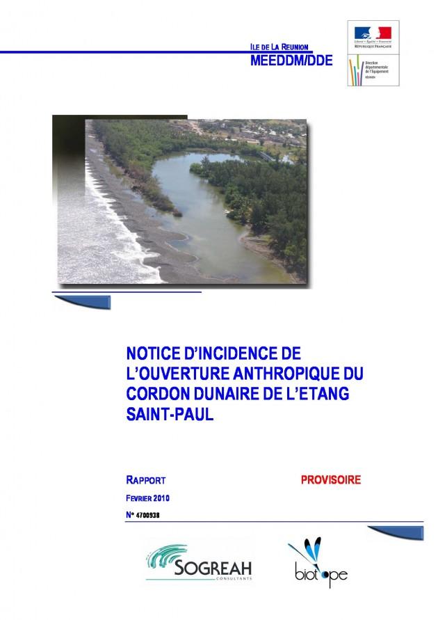Notice d'incidence de l'ouverture anthropique du Cordon Dunaire de l'Étang Saint-Paul - Rapport provisoire
