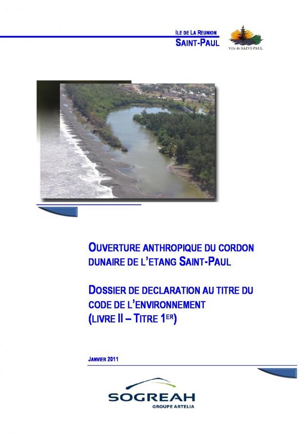 Notice d'incidence de l'ouverture anthropique du Cordon Dunaire de l'Étang Saint-Paul - Dossier de déclaration au titre du code de l'environnement (Livre II - Titre 1er)