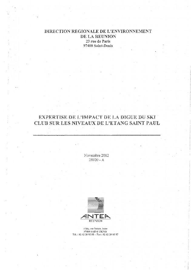Expertise de l'impact de la digue du Ski Club sur les niveaux de l'Étang Saint Paul