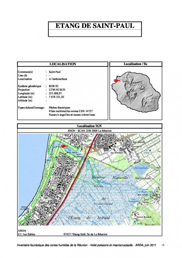 Inventaire faunistique des zones humides de la Réunion - Volet poissons et macrocrustacés - ARDA, juin 2011