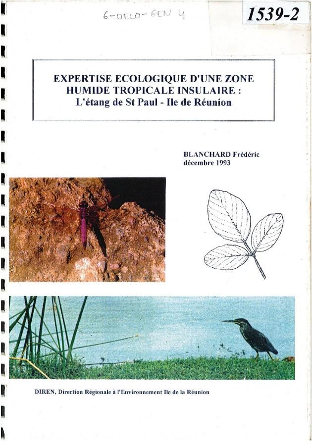 Expertise écologique d'une zone humide tropicale insulaire - BLANCHARD Frédéric - Décembre 1993