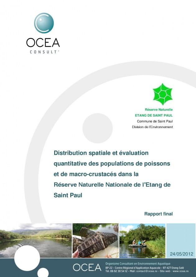 Distribution spatiale et évaluation quantitative des populations de poissons et de macro-crustacés dans la Réserve Naturelle Nationale de l'Etang de Saint Paul