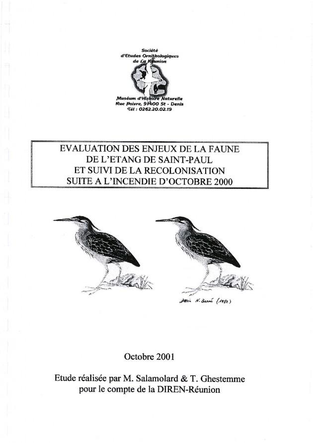 Évaluation des enjeux de la faune de l'Étang de Saint-Paul et suivi de la recolonisation suite à l'incendie d'octobre 2000