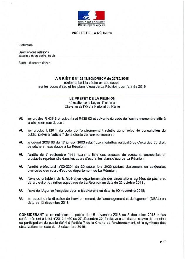 Arrêté préfectoral sur la pêche 2019 à La Réunion