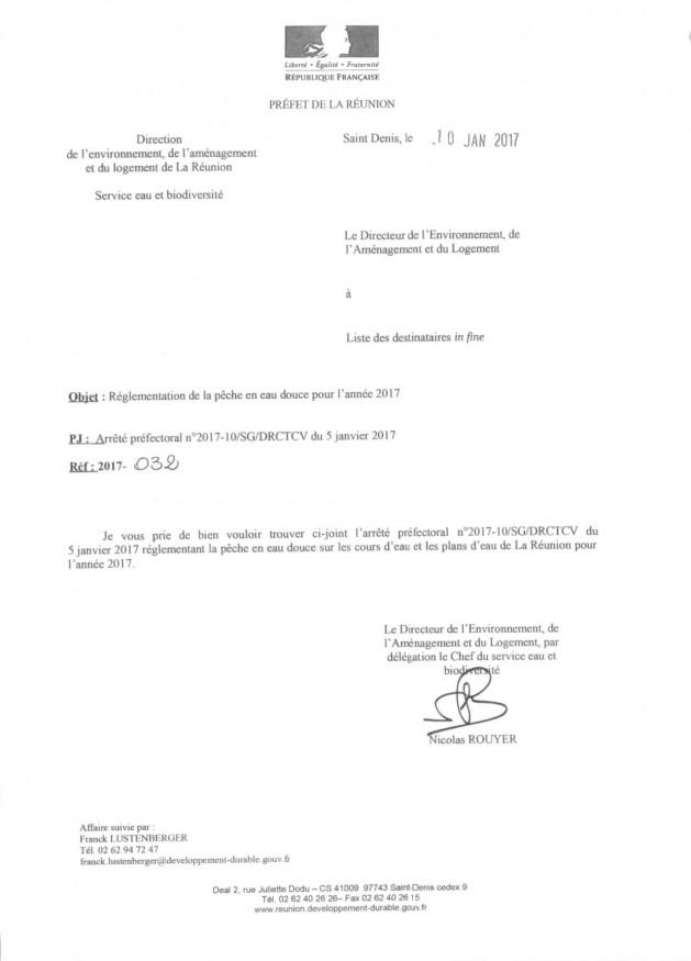 Arrêté préfectoral n°2017-10/SG/DRCTCV du 5 janvier 2017 réglementant la pêche en eau douce sur les cours d'eau et plan d'eau de La Réunion pour l'année 2017.