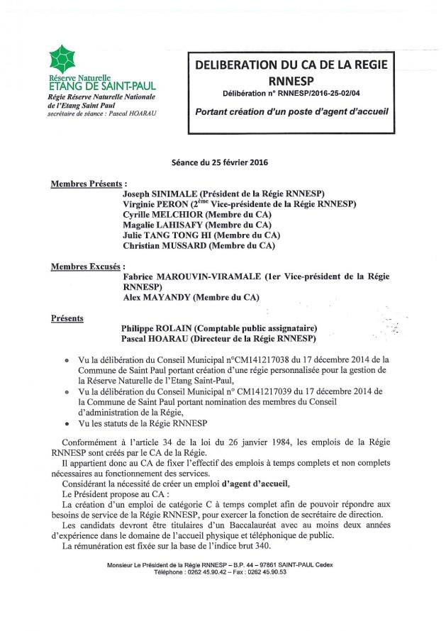 Délibération N° RNNESP/2016-25-02/04 - Portant création d'un poste d'agent d'accueil