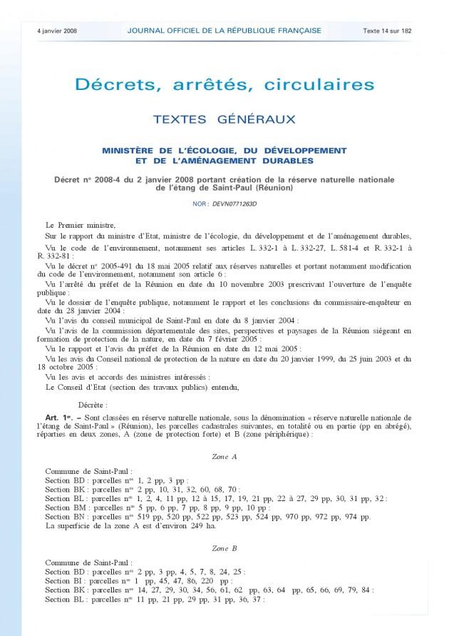 Décret n°2008-4 portant création de la RNN Etang de Saint-Paul