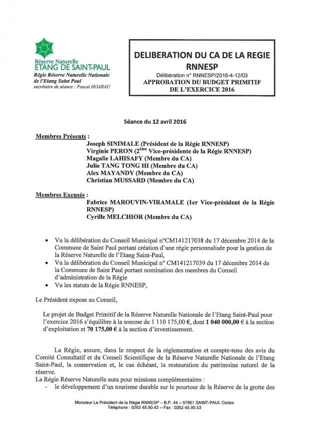 Délibération N° RNNESP/2016-02-12/03 - Approbation du budget primitif de l'exercice 2016