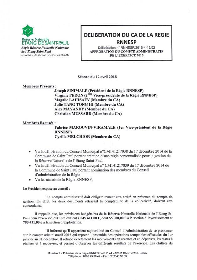 Délibération N° RNNESP/2016-01-12/02 - Approbation du compte administratif de l'exercice 2015