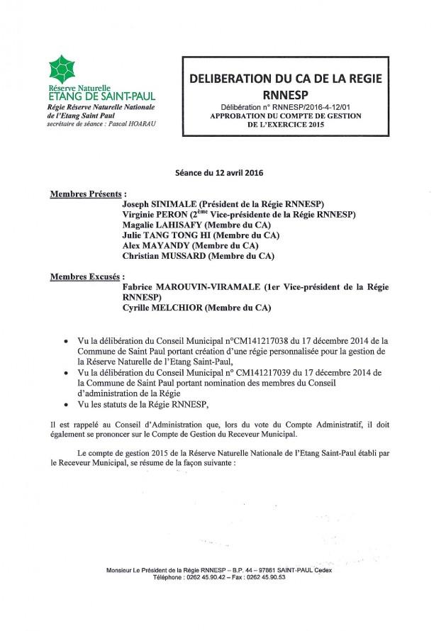 Délibération N° RNNESP/2016-04-12/01 - Approbation du compte de gestion de l'exercice 2015