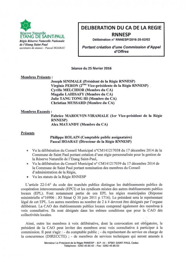 Délibération N° RNNESP/2016-25-02/02 - Portant création d'une Commission d'Appel d'Offres