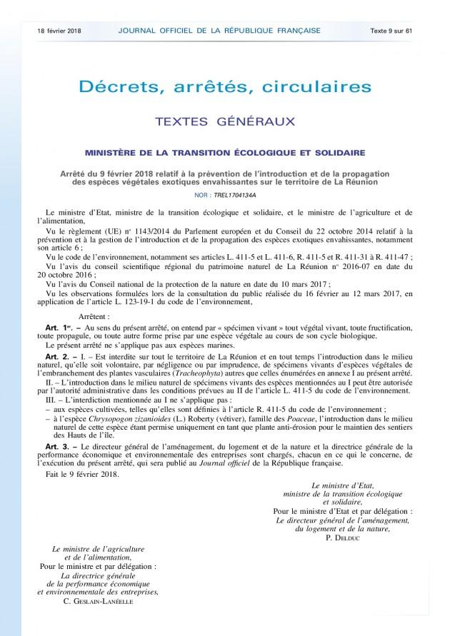 Arrêté du 9 février 2018 relatif à la prévention de l'introduction et de la propagation  des espèces végétales exotiques envahissantes sur le territoire de La Réunion