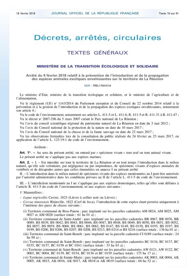 Arrêté du 9 février 2018 relatif à la prévention de l'introduction et de la propagation  des espèces animales exotiques envahissantes sur le territoire de La Réunion