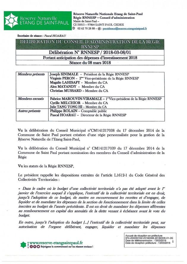 DÉLIBÉRATION N° RNNESP/2018-03-18 - Portant anticipation des dépenses d'investissement 2018