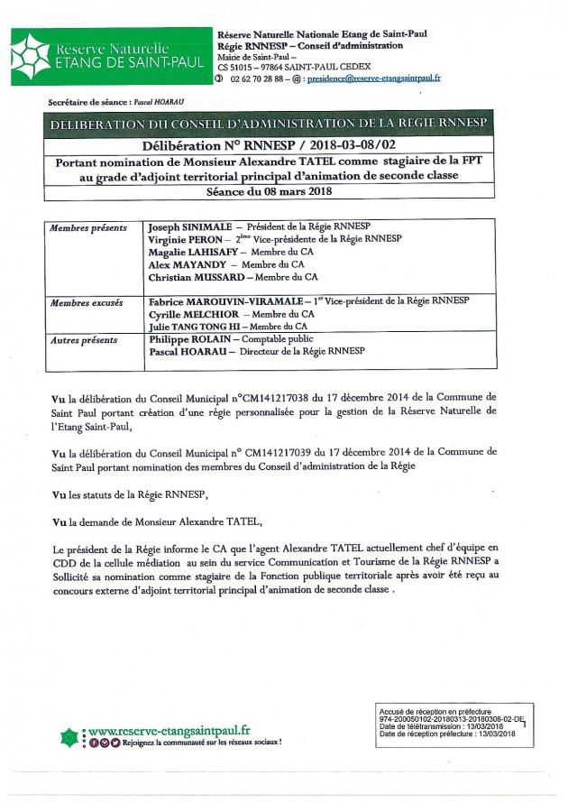 DÉLIBÉRATION N° RNNESP/2018-03-18/02 - Portant nomination de M. Alexandre TATEL, comme stagiaire de la FPT