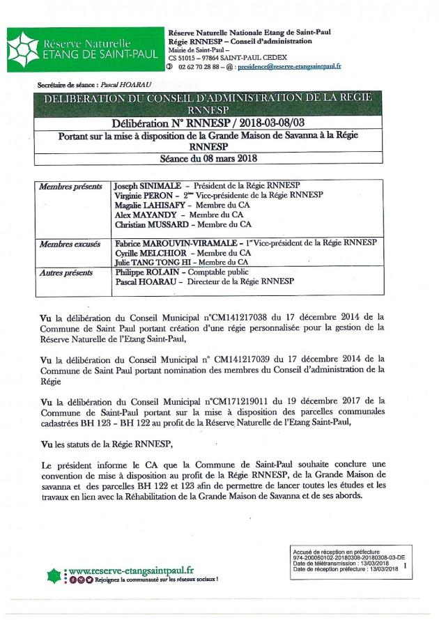 DÉLIBÉRATION N° RNNESP/2018-03-18/03 - Mise à disposition de la Grande Maison de Savanna