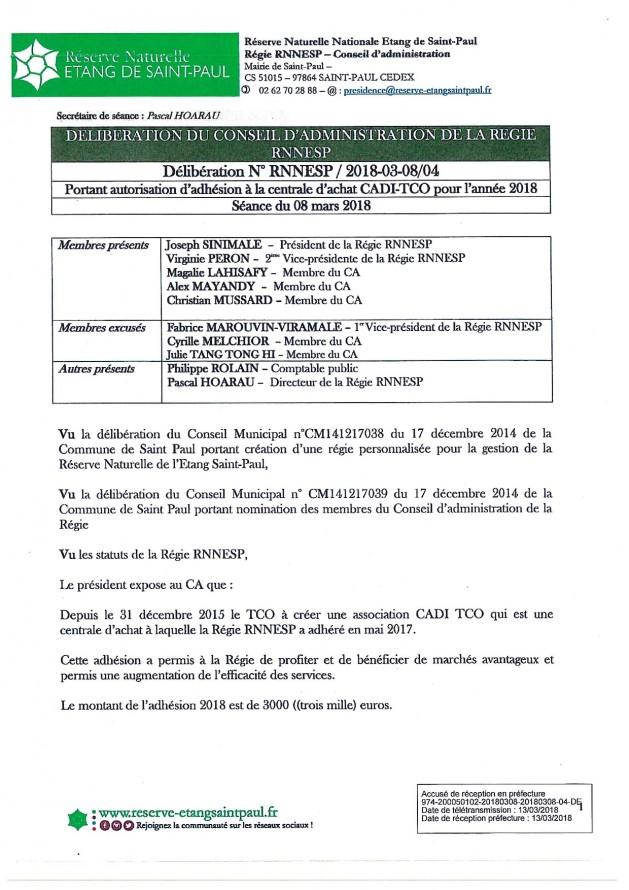 DÉLIBÉRATION N° RNNESP/2018-03-18/04 - Adhésion CADI