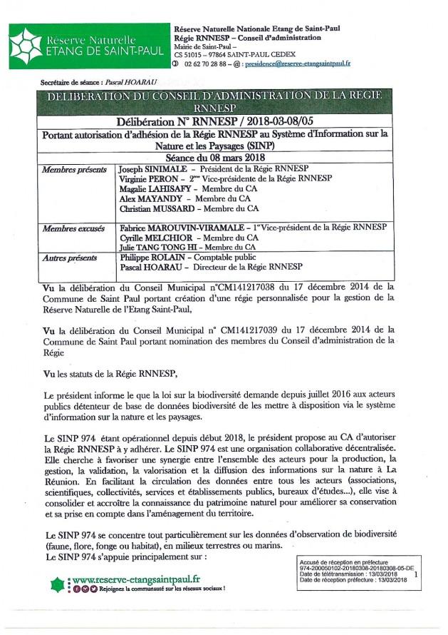 DÉLIBÉRATION N° RNNESP/2018-03-18/05 - Adhésion au SINP