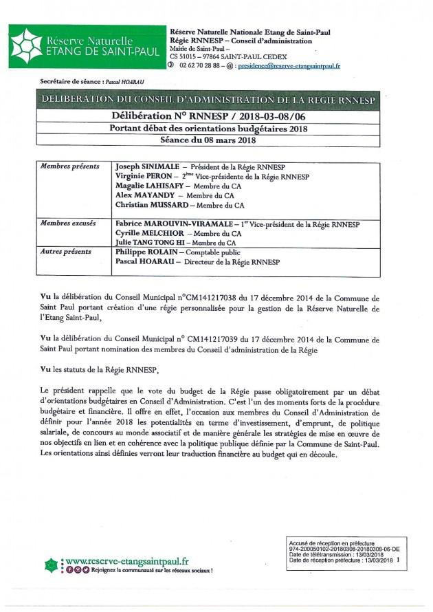 DÉLIBÉRATION N° RNNESP/2018-03-18/06 - Débat des orientations budgétaires