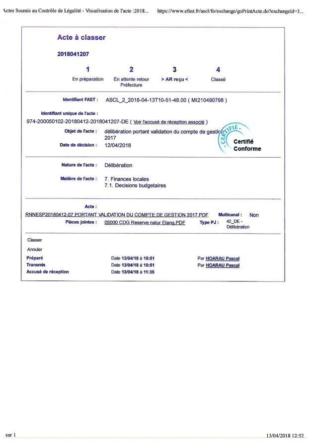 DÉLIBÉRATION N° RNNESP/2018-04-12/07 - VALIDATION DU COMPTE DE GESTION 2017