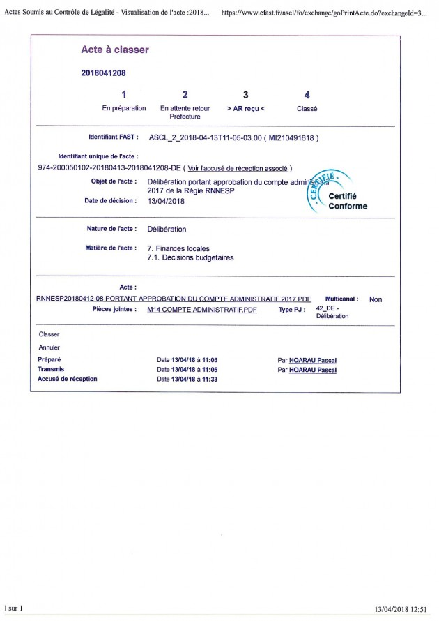 DÉLIBÉRATION N° RNNESP/2018-04-12/08 - APPROBATION DU COMPTE ADMINISTRATIF ET M14