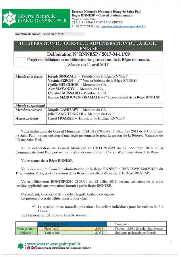 Délibération N° RNNESP/2017-04-11/09 - Projet de délibération modificative des prestations de la Régie de recette