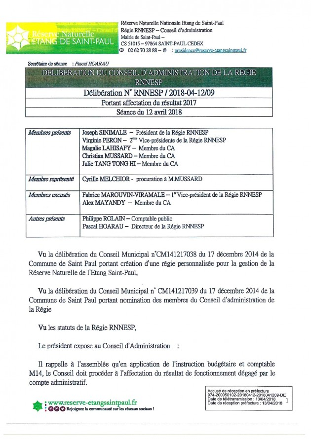 DÉLIBÉRATION N° RNNESP/2018-04-12/09 -  PORTANT AFFECTATION DU RESULTAT 2017