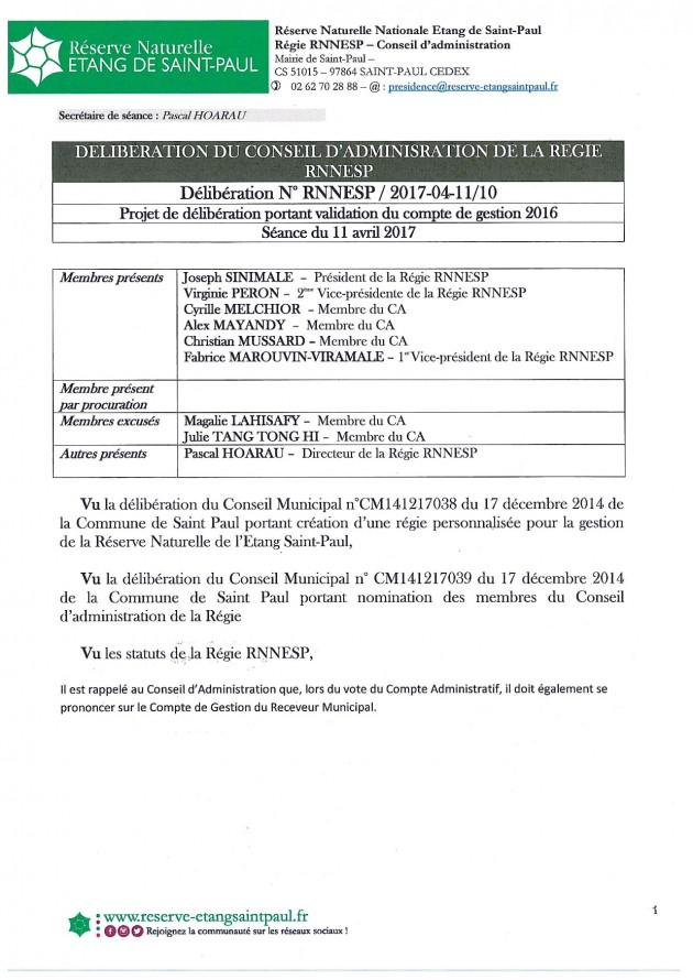 Délibération N° RNNESP/2017-04-11/10 - Projet de délibération portant validation du compte de gestion 2016