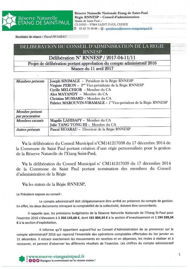 Délibération N° RNNESP/2017-04-11/11 - Projet de délibération portant approbation du compte administratif 2016