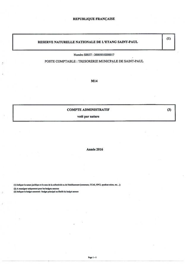 Arrêté Compte Administratif 2016