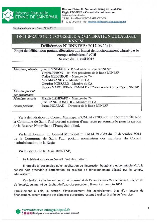 Délibération N° RNNESP/2017-04-11/12 - Projet de délibération portant affectation du résultat de fonctionnement dégagé par le compte administratif 2016