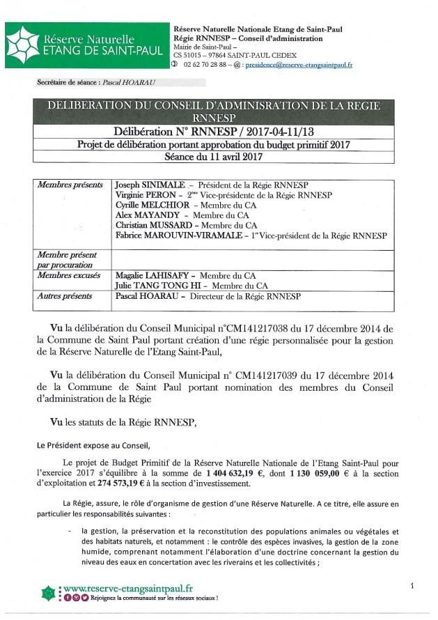 Délibération N° RNNESP/2017-04-11/13 - Projet de délibération portant approbation du budget primitif 2017