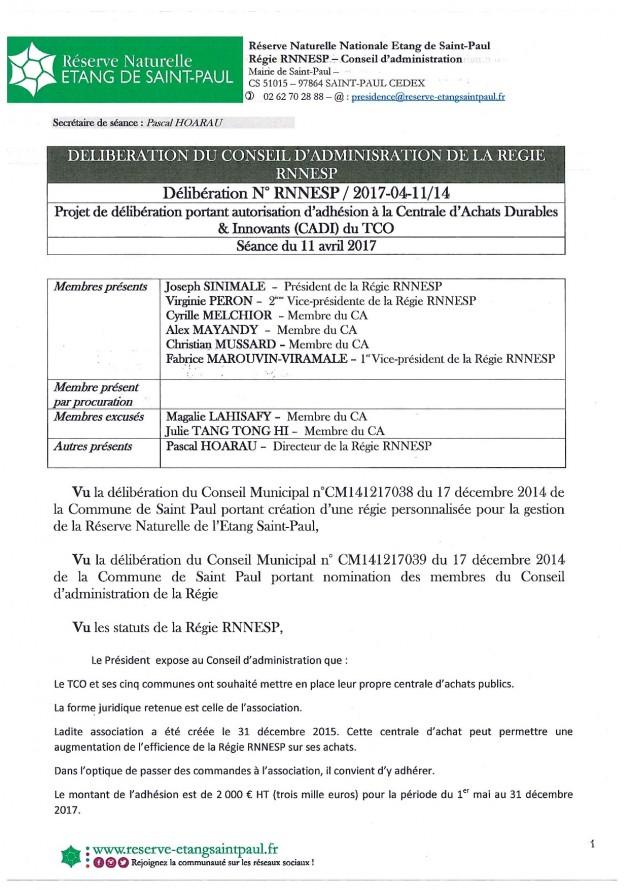 Délibération N° RNNESP/2017-04-11/14 - Projet de délibération portant autorisation d'adhésion à la Centrale d'Achats Durables & Innovants (CADI) du TCO