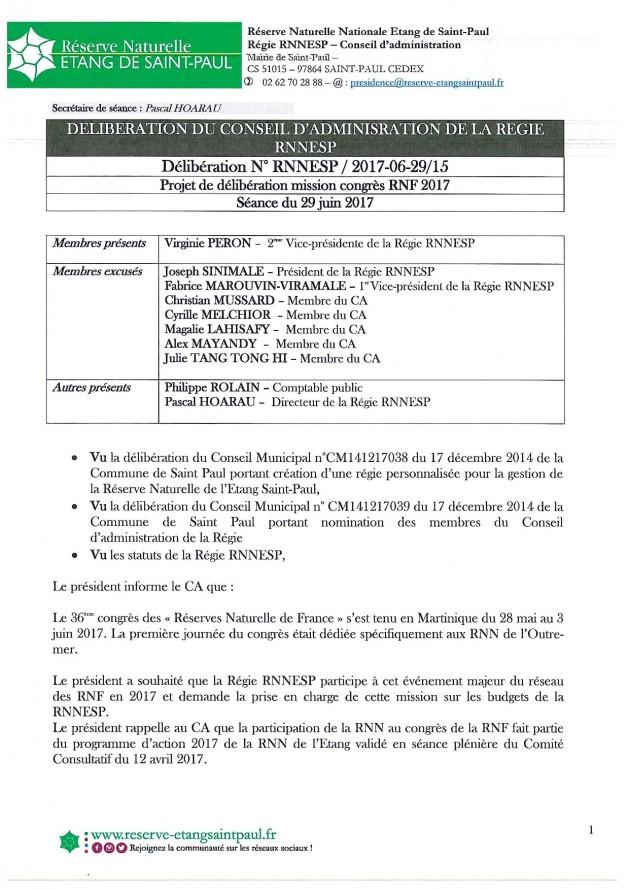 DÉLIBÉRATION N° RNNESP/2017-06-29/15 - CONGRES RNF 2017