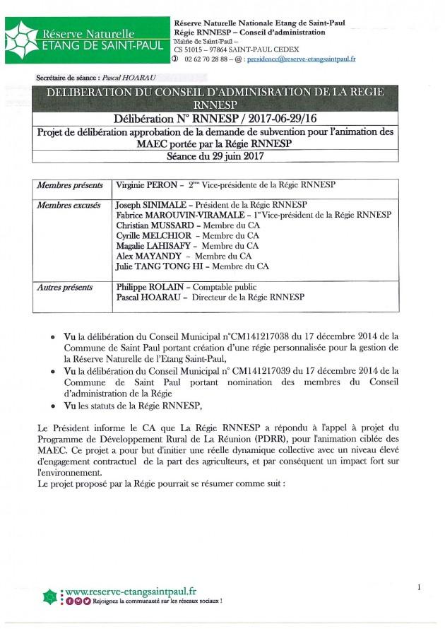 DÉLIBÉRATION N° RNNESP/2017-06-29/16 - APPROBATION DEMANDE DE SUBVENTION ANIMATION MAEC