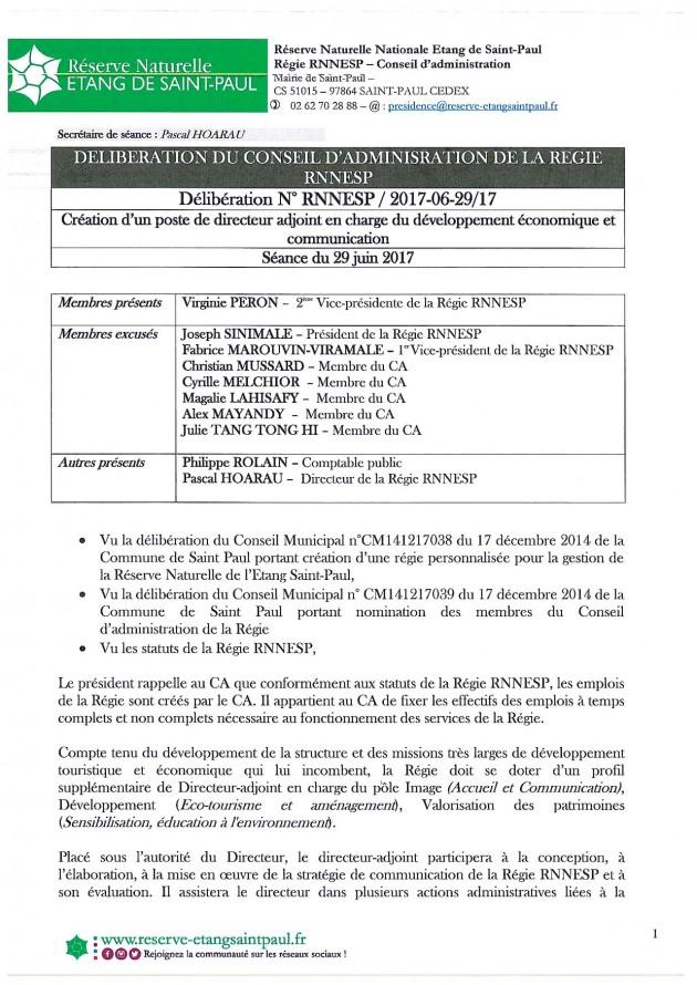 DÉLIBÉRATION N° RNNESP/2017-06-29/17 - CREATION POSTE DE DIRECTEUR ADJOINT EN CHARGE DEVELOPPEMENT ECONOMIQUE ET TOURISTIQUE