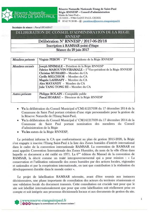 DÉLIBÉRATION N° RNNESP/2017-06-29/18 - INSCRIPTION A RAMSAR POINT D'ETAPE