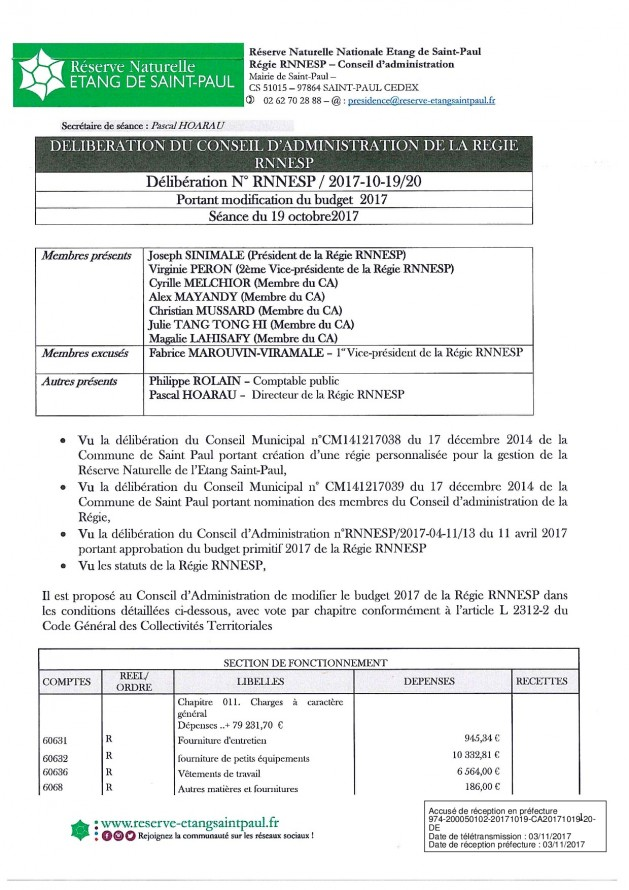 DÉLIBÉRATION N° RNNESP/2017-10-19/20 - PORTANT MODIFICATION DU BUDGET 2017