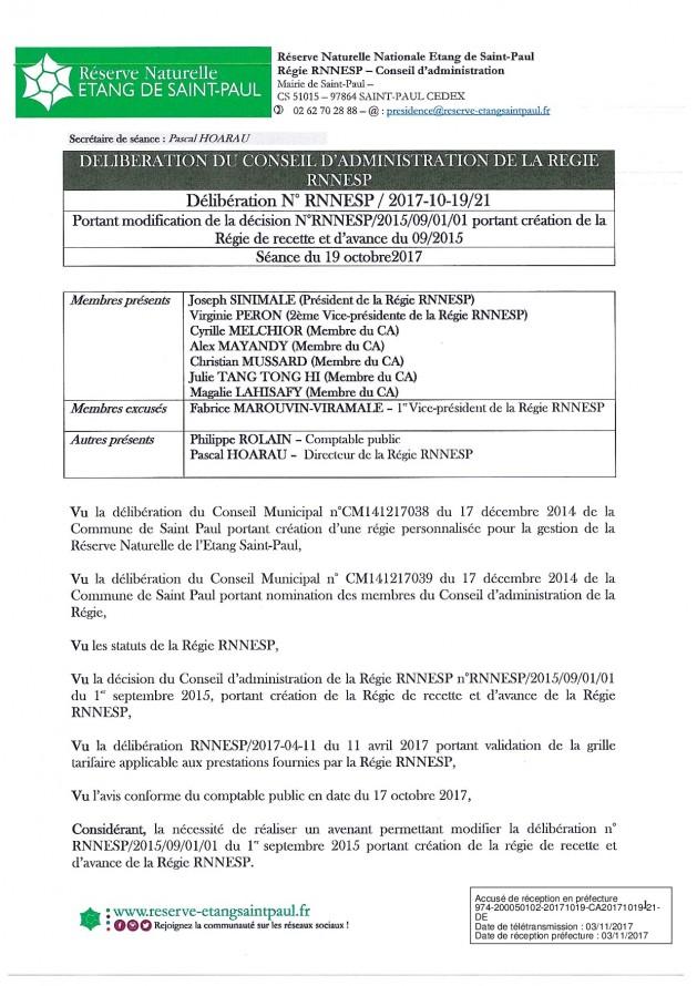 DÉLIBÉRATION N° RNNESP/2017-10-19/21 - PORTANT MODIFICATION DE LA REGIE DE RECETTE ET D'AVANCE