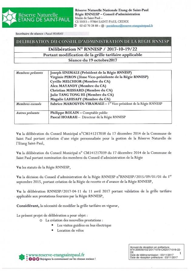 DÉLIBÉRATION N° RNNESP/2017-10-19/22 - PORTANT MODIFICATION MODIFICATION DE LA GRILLE TARIFAIRE