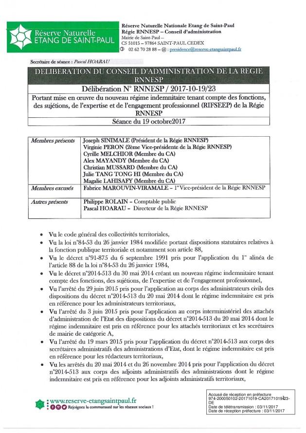 DÉLIBÉRATION N° RNNESP/2017-10-19/23 - RIFSEEP Régie RNNESP
