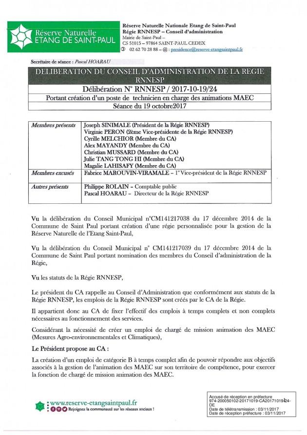 DÉLIBÉRATION N° RNNESP/2017-10-19/24 - CREATION DE POSTE POUR ANIMATION DES MAEC