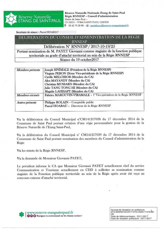 DÉLIBÉRATION N° RNNESP/2017-10-19/25 - NOMINATION DE M.PAYET POUR LE POSTE DE DIRECTEUR ADJOINT