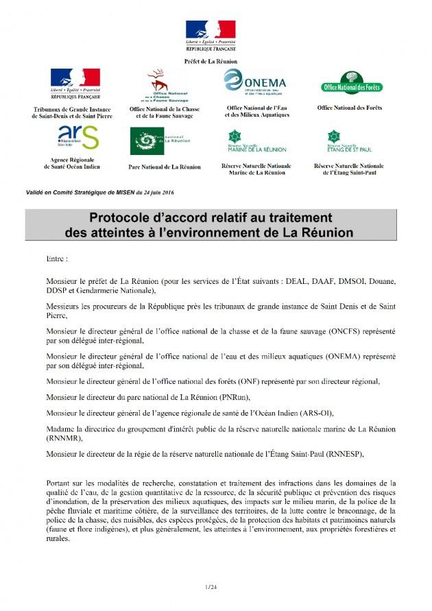 Protocole d'accord relatif au traitement des atteintes à l'environnement - 2016