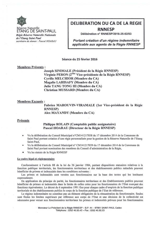 Délibération N° RNNESP/2016-25-02/03 - Portant création d'un régime indemnitaire applicable aux agents de la Régie RNNESP